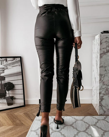 Solid Color Leather Straight Pants