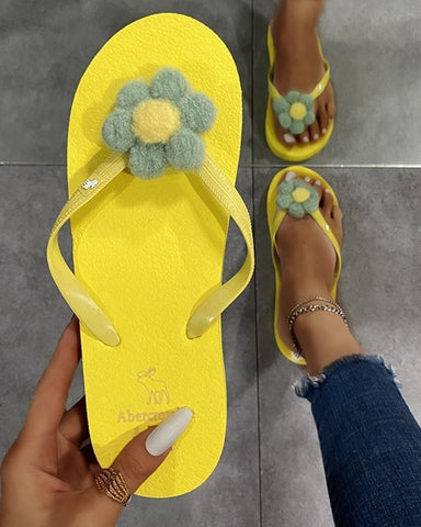 Flower Patch Flip-flop Open-toe Flat Sandals Slippers