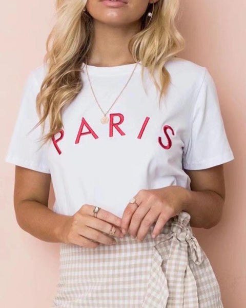 Letter Print Round Neck T-Shirt