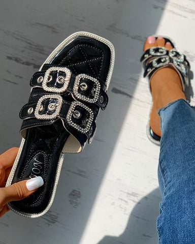 Eyelet Buckled Square Toe Rhinestone Flat Sliders