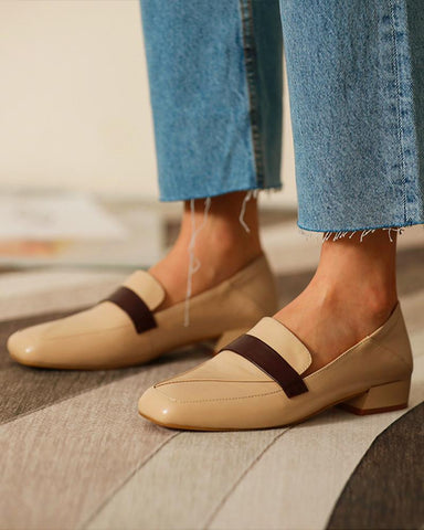 Square Toe Leather Loafers