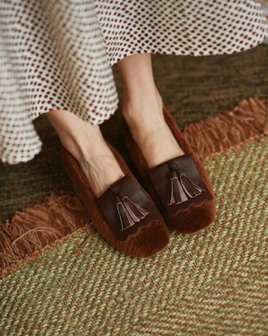 Round-toe Tassel Shallow Mouth Flat Sandals