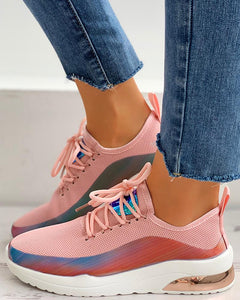 Lace-Up Colorblock Breathable Sneakers