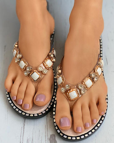 Rhinestone Toe Post Flat Sandals