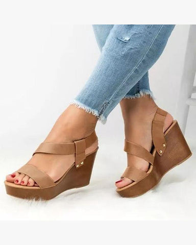 Solid Open Toe Wedge Sandals