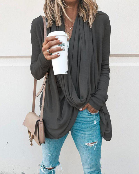 Solid Long Sleeve Drape Blouse