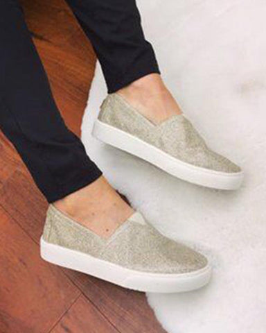 Solid Sequin Flat Slip-on