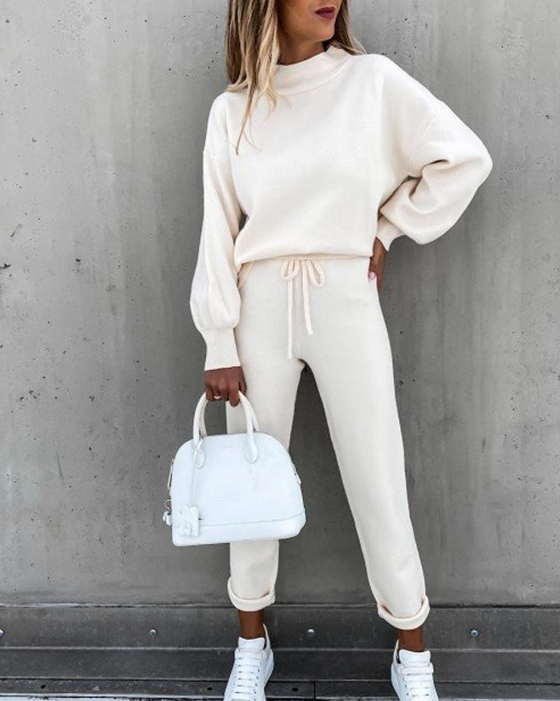 Solid Long Sleeve Loose Sweater Suit Sets
