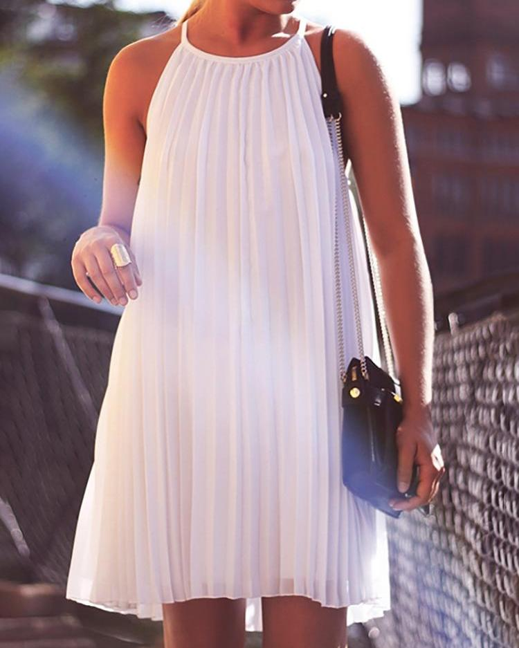 White Pleated Halter Casual A-line Dress