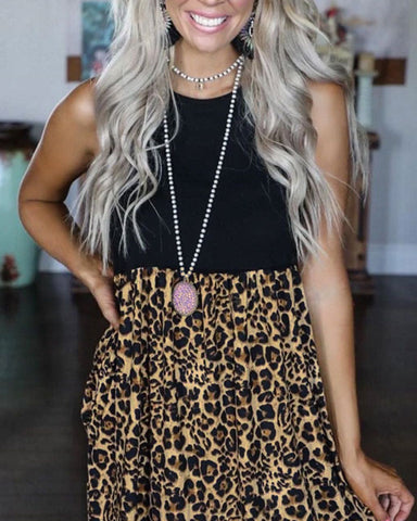 Solid Color Splicing Leopard Sleeveless Mini Dress