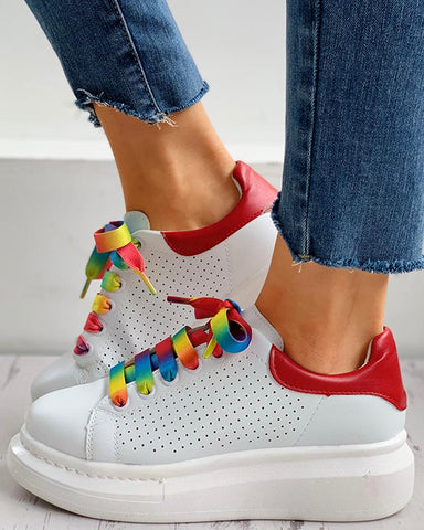 Colorblock Lace-up Breathable Casual Sneakers