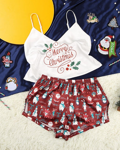 Christmas Patterns Printing Tanks With Shorts Suit Set