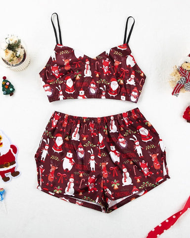 Christmas Patterns Printing Strap Tanks With Shorts Suit Sets