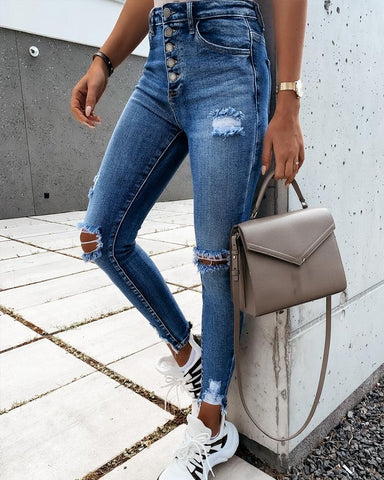 Solid Skinny Ripped High Waist Denim Pants