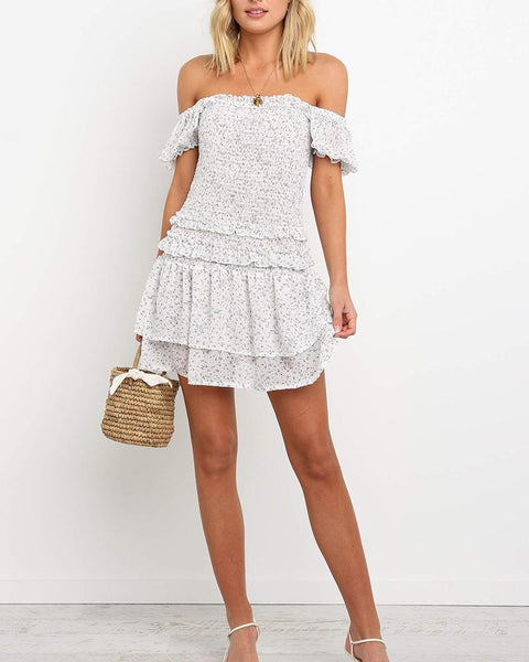Polka Off Shoulder Ruffle Mini Dress