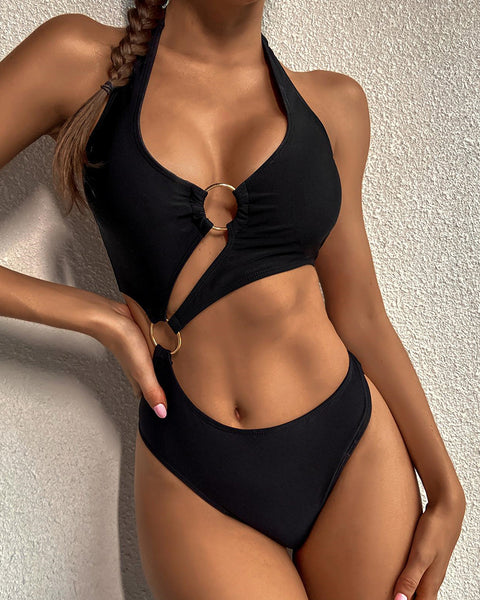 Solid Color Bandage Ring Halter Sleeveless Bikini Sets
