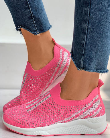 Studded Colorblock Knit Wedge Sneaker