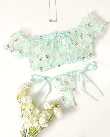 See-through Mesh Floral Print Short Sleeve Bra Sets