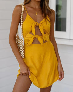 Tie Front Cut Out Mini Dress