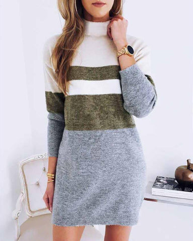 High Neck Colorblock Long Sleeve Knitting Sweater Dress