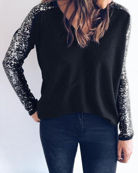 V Neck Sequin Sleeve Top