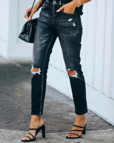 Solid Slim Ripped Denim Pants
