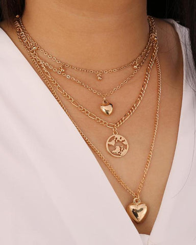 Water Drop Love Map Multilayer Necklace