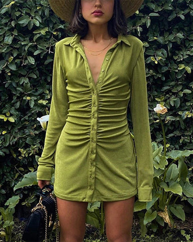 Solid Color Long Sleeve Ruched Mini Shirt Dress