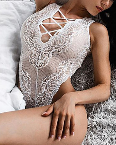 Sexy Lace Front Cross Strap Sleeveless Teddies