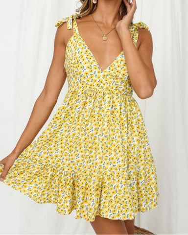 Floral Print Sleeveless Bowknot Lace-up Mini Dress