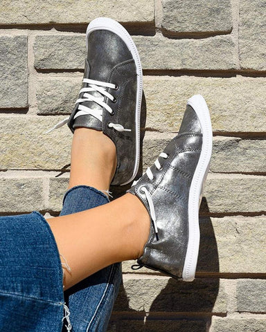 Solid Sequins Flat Lace-up Sneakers
