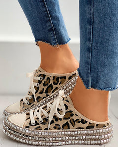 Rivet Eyelet Lace-up Flat Sandals