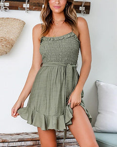 Ruffle Trim Cami Mini Dress