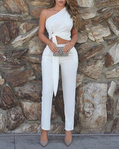 One Shoulder Tied Detail Top & High Waist Pant Sets