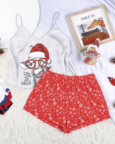Christmas Patterns Printing Sleeveless Tanks With Shorts Suit Sets