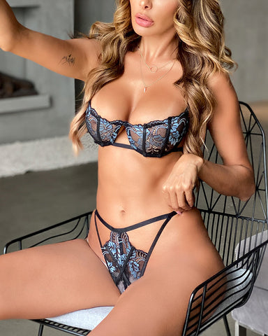 See-through Splicing Lace Sling Bra Sets