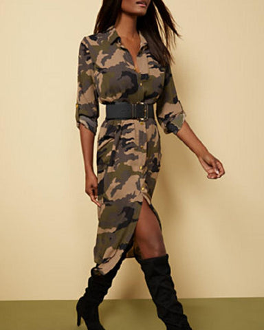 Camouflage Print Long Sleeve Loose Skinny Dress