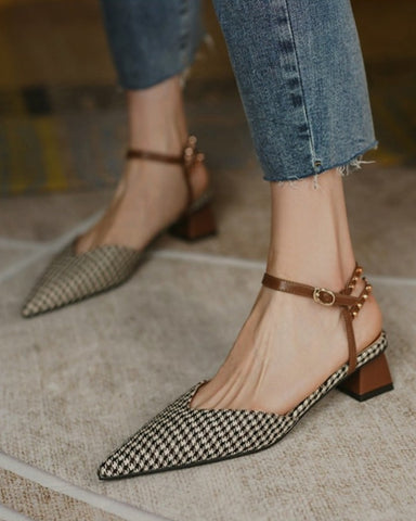 Pointed-toe Houndstooth Print Buckle High Heels