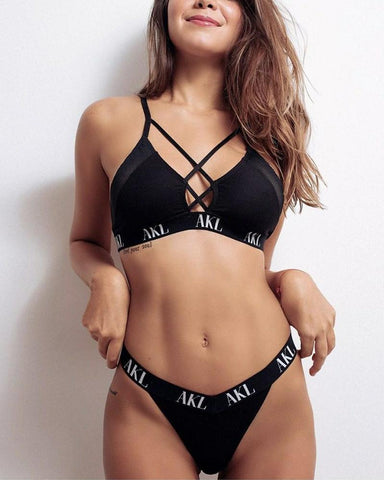 Solid Letter Printing Cross Strap Bra With Panties Se