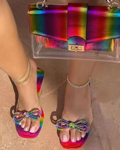 Square-toe Splicing Multicolor Rhinestone Bow Flat Sandals