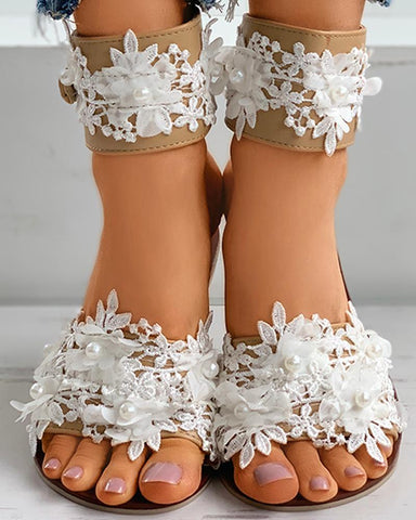 Ankle Strap Floral Pattern Beaded Flat Sandals