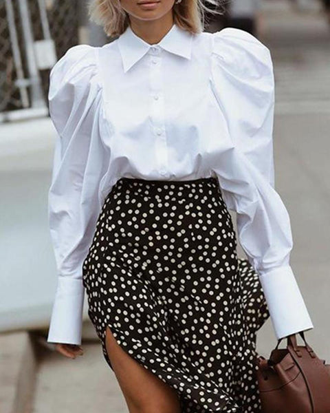 Button-Down Mutton Sleeve Blouse