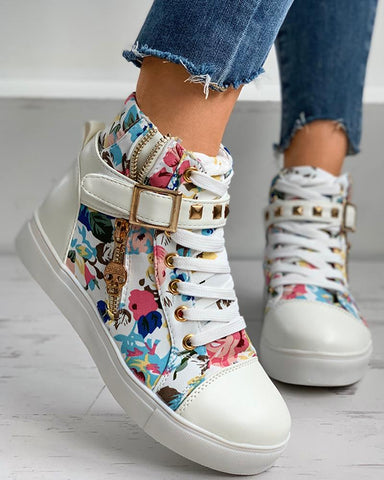 Floral Print Lace-up Hidden Wedge Sneaker