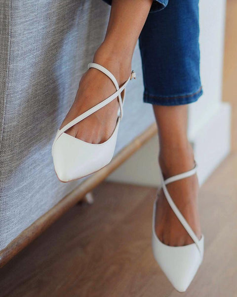 Fashion Cross Straps Pointed Pumps