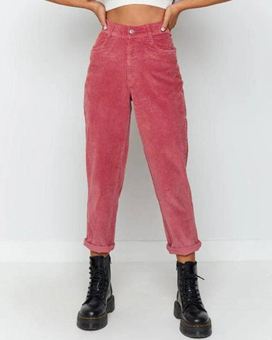Casual Solid Color Straight Pants