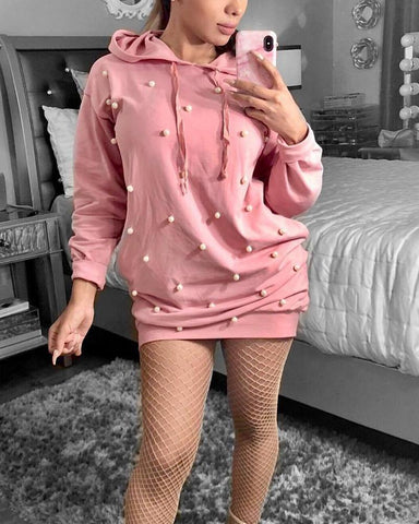 Beaded Long Sleeve Hooded Mini Dress