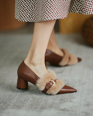 Patchwork Fluffy Pointed Toe Block Heel Slip-on