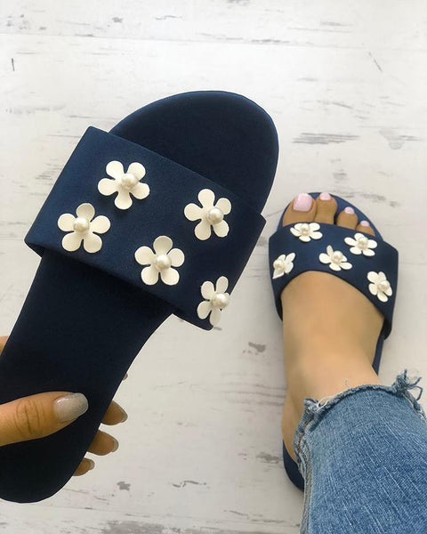 Floral Embellished Single Strap Flat Sandals