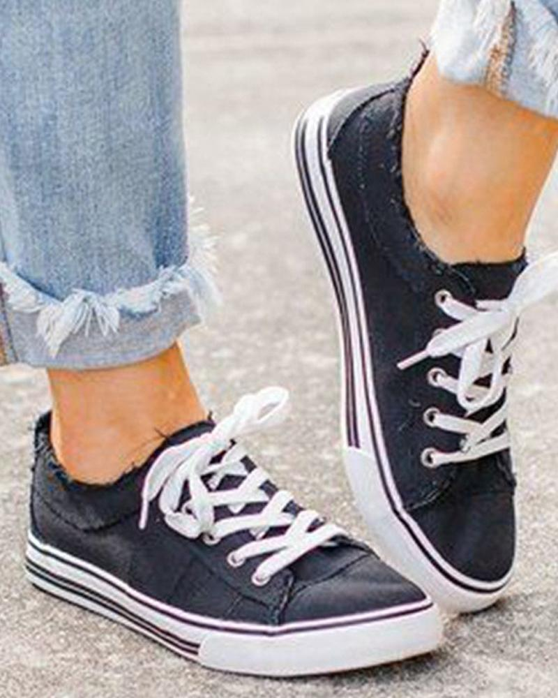 Solid Lace-up Flat Canvas Sneakers