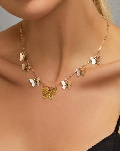 Vintage Bohemian Gold Hollow Butterfly Necklace